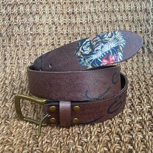 Ed Hardy Leather Tiger Belt Size Small